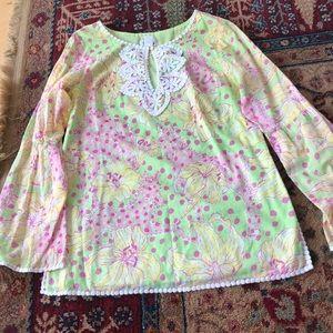 Lilly Pulitzer tunic, sz XS. Green/pink print